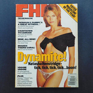 1990s Vintage / FHM Magazine / For Him Magazine / July 1997 / Natasha Henstridge / British Mens Magazine / 90s Fashion / Eurostyle
