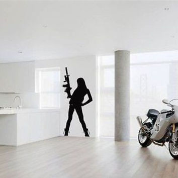 Sexy Gangster Chick With Rifle Hunting Killer Wall Art Sticker Decal Z-17