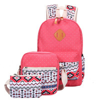 3 Pcs/Set  Fashion Canvas Printing Backpack Women School Bags for Teenage Girls Cute Book bags Laptop Backpacks Female
