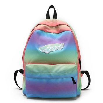 LMNFONH Vans Casual Rainbow School Shoulder Bag Satchel Backpack