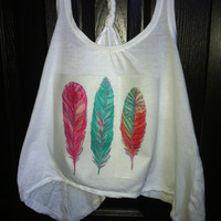 White Feathers Tank Top. ( size small )