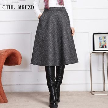 winter 2017 new fashionable skirts new plaid skirts long knee length skirts In the cloth line skirt