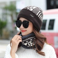 Beanies With Scarf Knitted Hat Women's Winter Hats For Men Soft Cap Keep Warm Fur Winter Protect The Ears Beanie Knit Bonnet Hat