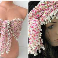 Cover up, Sweamwear, Wrap Top, Boho Headband, Hairwrap, Turban, Cotton Scarf, Pareo, Bandana