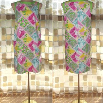 Vintage 90s Lilly Pulitzer Abstract Smock Shift Dress 10 M/L Bermuda Pink Tile Patch Print Windowpane