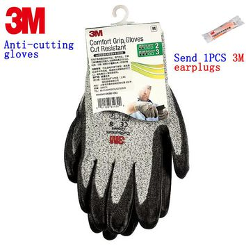 3M anti cut gloves Level 3 cut Nitrile coating Non-toxic safety glove against slaughter glass Meat processing working gloves