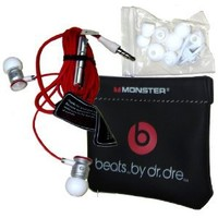 Monster ibeats Beats by Dr. Dre White/Red High Performance In-Ear Headphone Earphone for iPod, iPad, iPhone3G, iPhone 4, iPhone 4S, Android, Smartphone, Galaxy S and other 3.5mm MP3 Devices - BULK Packaging: MP3 Players & Accessories
