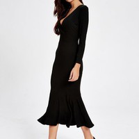 Black Plunging Neck Mermaid Knitted Dress