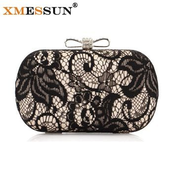 XMESSUN Brand Good Hollow Lace Clutch Bag New Lace Satin Evening Bags High-Grade Silk Bow Party Bag Exquisite Day Clutches S46