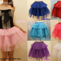 3 layers lolita skirt petticoat punk rock emo gothic cosplay dance tutu W24-36