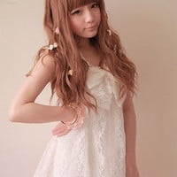 Girls Princess Japan Street Dolly Lolita Kawaii BOW Lace Top Shirt Dress White