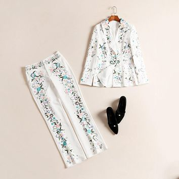 2017 Luxurious Design Women's Runway Handsome 2 Piece Pants Suit Tops+Long Trousers Slim Embroidery Twin Set Outfit HIGH QUALITY