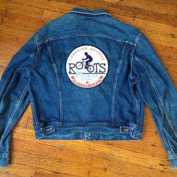 Vintage Lee Rider Denim Jean Jacket Canadian Rockies Roots Mountain Biking Invitational Jacket Unisex L or XL