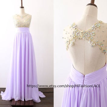 Lavender Prom Dress, Straps Chiffon Lace Long Prom Gown with Open Back,  Lilac Formal Gown, Wedding Bridesmaid Dress