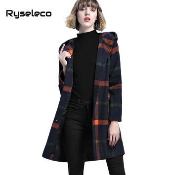 Ryseleco Women Vintage Loose Elegant Plaid Hooded Wool Blends Long Coats Girls Casual Faux Fur Ball Winter Single Breast Outwear
