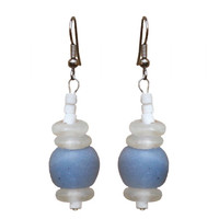 Recycled Blue Glass Earrings