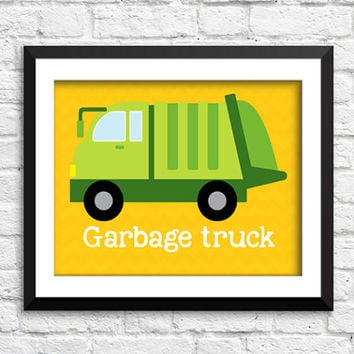 garbage truck art print, garbage truck decor, construction art print, transportation decor, trash truck art print, boys bedroom decor