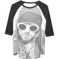 Nirvana  Kurt Cobain Jr Cobain W/ Shades 3/4 Slv Raglan Junior Top Coal