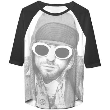 Nirvana  Kurt Cobain Jr Cobain W/ Shades 3/4 Slv Raglan Girls Jr Raglan Tee Coal