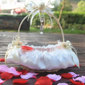 Rose Lace Flower Girl Basket