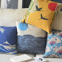 cotton linen Fabrics Pillow Cover Japanese-style Mount Fuji Fan Crane and the sun pillow pattern cushion cover cushion case pillowcase