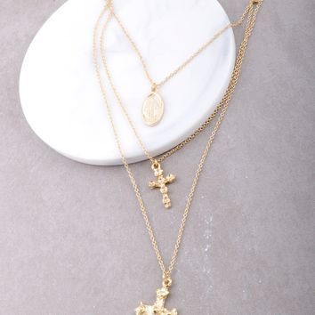 Encrusted Cross Layered Necklace