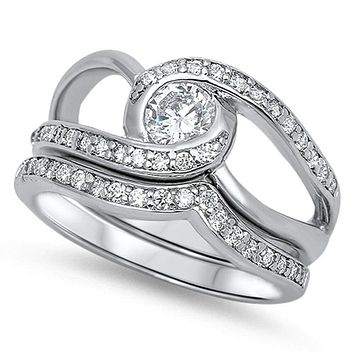 Twisted Halo Stacking Ring Set with Matching Band