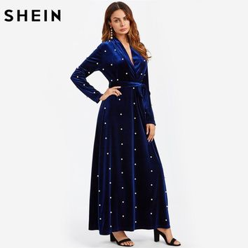 Pearl Beaded Surplice Wrap Plunging A Line Velvet Dress Royal Blue Deep V Neck Elegant Sexy Long Sleeve Maxi Dresses