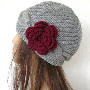 Hand knit hat - Cloche hat   in silver gray- Victorian  Hat  burgundy  flower - Winter Accessories-  womens hat-  fashion - Holiday  gift