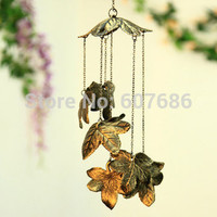 2 Pieces Japanese Style Vintage Iron Maple Leaf  Wind Chime Home Garden Courtyard Hanging Metal Windchimes Bell Decor