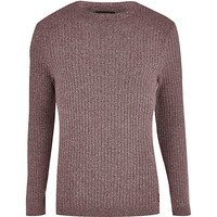 River Island MensDark purple rib crew neck sweater