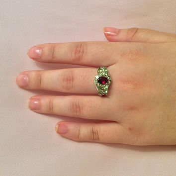 Genuine Peridot and Garnet Ring