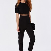 Missguided - Scallop Mesh Panel Jumpsuit Black