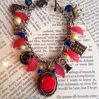 Beauty and the beast jewelry, fairytale charm bracelet, blue red and yellow jewellery, flowers, roses, happily ever after, once upon a time