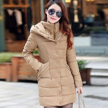 Plus Size Khaki Cotton Coat