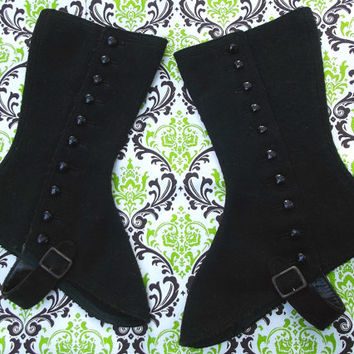 Black Wool Steampunk Women's Tall Spats Vintage Costume Accessories with Metal Buttons and Buckles