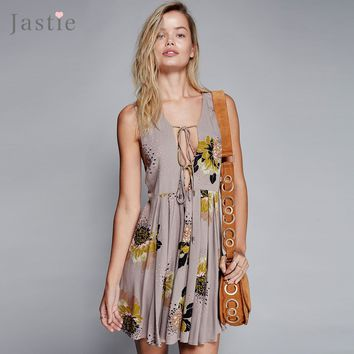 Jastie Loveliest Day Tunic Mini Dress Flowy Plunging V-Neck Low Open Back Sexy Women Dresses Printed Sleeveless Boho Vestidos