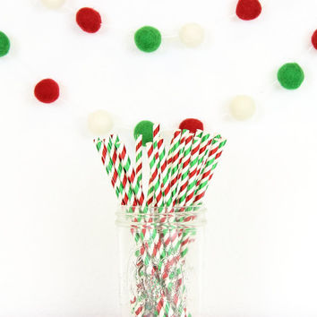 Christmas Straws, Paper Straws, Foil Straws, Christmas Party, Holiday Straws, Red Straws, Drinking Straws, Gift Under 5, Stocking Stuffer