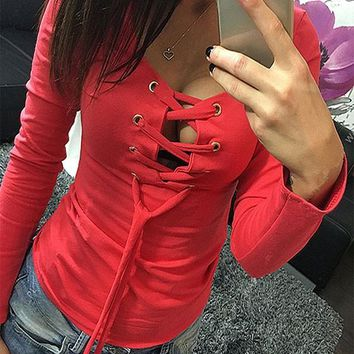 Streetstyle  Casual Red Drawstring Lace Up Cut Out Round Neck Long Sleeve T-Shirt