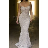 Cream Mermaid Bustier Lace Maxi Dress - Jaide Clothing