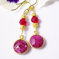 Earrings Ruby Gemstones Vintage w 22K Vermeil Gold Accents Ruby Swarovski Crystals