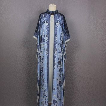 Indonesia Traditional Handmade Batik Dress Batik Caftan Maxi Dress Vintage Blue Caftan Dress One Size Fits All Kaftan Maxi Dres