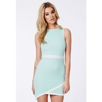 Missguided - Kena Mint Asymmetric Contrast Mini Dress