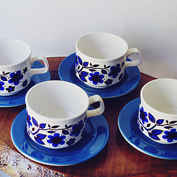 Staffordshire Potteries Cup And Saucers, Set Of 4 Retro Mugs And Plates