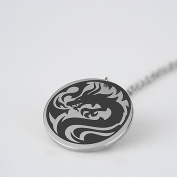Dragon logo style stainless steel pendant necklace