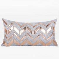"Gray with Rose Cold Faux Leather Chevron Pattern Pillow 12""X22"""