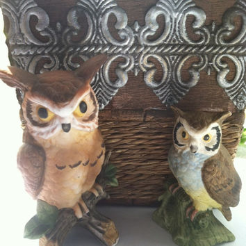 Porcelain Owls, Owl Figurines, Collectible Owls, Bisque Owls, Owl Lovers' Gift Vintage Owls Nature Gift Woodland Collectibles, Birthday Gift