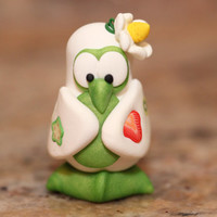 Daisy the Penguin, polymer clay miniature animal, pocket totem, arctic bird figurine, small sculpture, fruit, white, bright green, yellow