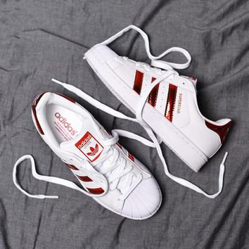 """""""Adidas"""" Superstar Shell toe Bright red Casual Sneakers"""