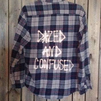 "Plaid flannel ""Dazed and Confused"" hand bleached shirt // soft grunge"